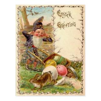 Carte Postale Oeuf coloré peint par gnome de lapin de Pâques