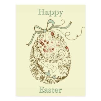 Carte Postale Oeuf de pâques avec les éléments floraux