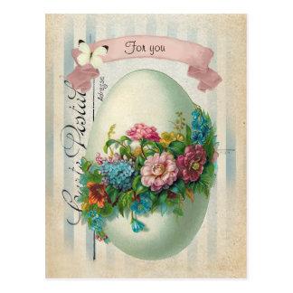 Carte Postale Oeuf victorien de fleur de Pâques