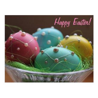 """Carte Postale Oeufs colorés horizontaux de """"Joyeuses Pâques"""""""