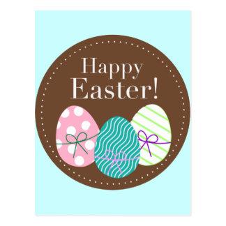 Carte Postale Oeufs triples heureux de Pâques