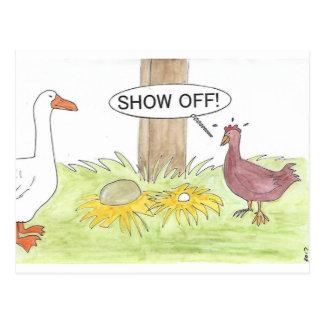 Carte Postale Oie d'or contre le poulet