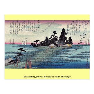 Carte Postale Oies descendantes chez Haneda par Ando, Hiroshige