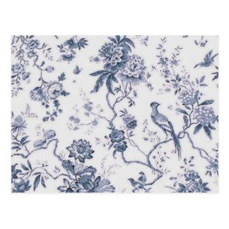 Carte Postale Oiseau bleu et blanc vintage mignon floral