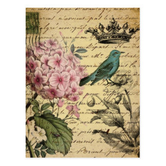 Carte Postale Oiseau botanique de Français d'hortensia d'art de