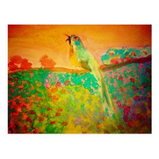 Carte Postale Oiseau de chanson dans l'aquarelle