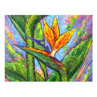 Carte Postale Oiseau de la peinture tropicale de fleur de