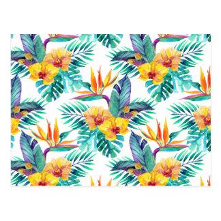 Carte Postale Oiseau du paradis et du motif 2 d'orchidée