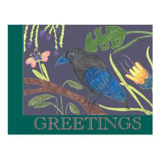 Carte Postale Oiseau du paradis noir et bleu