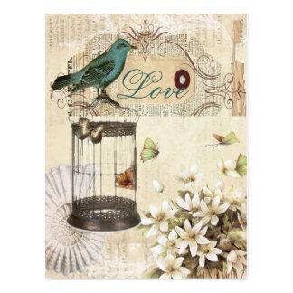 Carte Postale oiseau français vintage moderne de cage à oiseaux