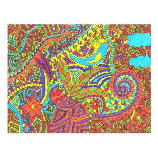 Carte postale oiseau jaune et bleu