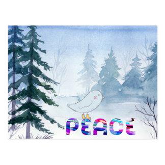 Carte Postale Oiseau mignon se reposant sur la paix en hiver