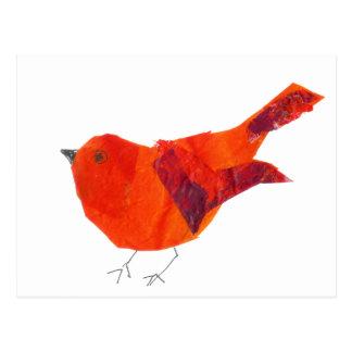 Carte Postale Oiseau rouge artistique unique animal de faune