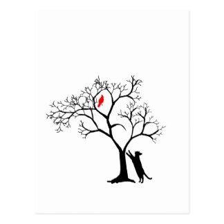 Carte Postale Oiseau rouge cardinal dans l'arbre d'hiver de