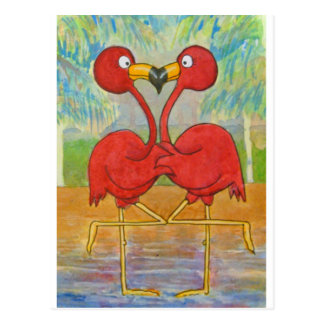 Carte Postale Oiseau tropical de plage de couples de flamant