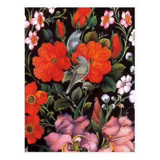 Carte Postale Oiseaux dans des fleurs rouges art oriental