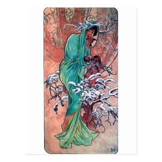 Carte Postale Oiseaux de moineaux de dame de nouveau d'art