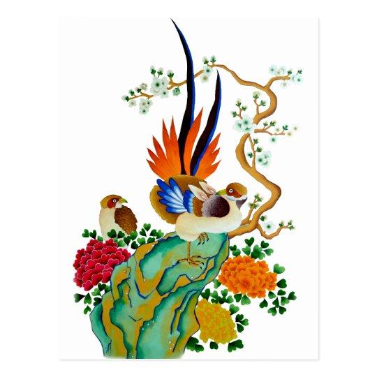 Carte Postale Oiseaux et fleurs