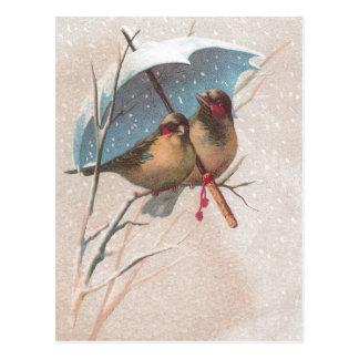 Carte Postale Oiseaux sous le parapluie bleu