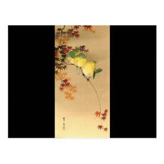 Carte Postale Oiseaux verts sur l'arbre d'érable, art japonais