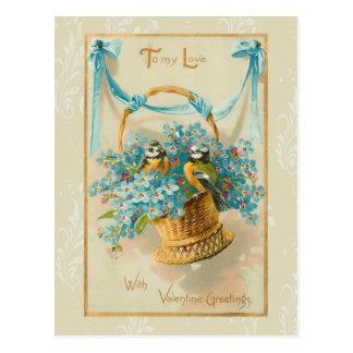 Carte Postale Oiseaux vintages et myosotis des marais de