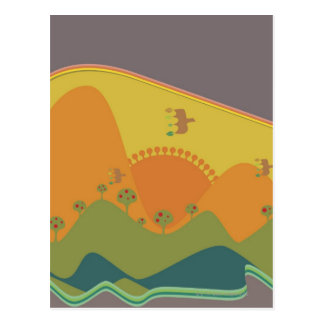 Carte Postale Oiseaux volant au-dessus des montagnes sur un