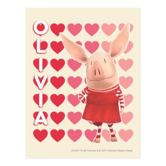 Carte Postale Olivia - arrière - plan de coeur