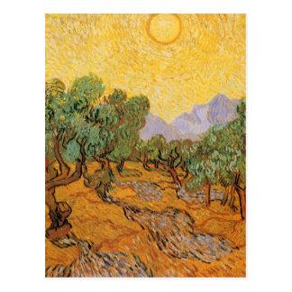 Carte Postale Oliviers, ciel jaune et Sun, Vincent van Gogh