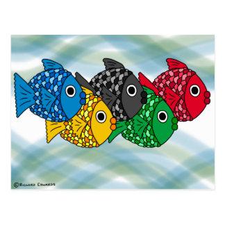 Carte postale olympique de poissons