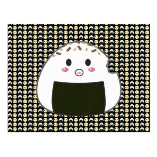 Carte Postale Onigiri carrelé et poussin dans le noir