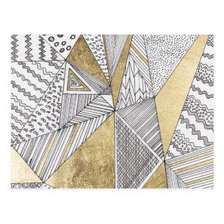 Carte Postale Or blanc noir chic moderne de faux géométrique