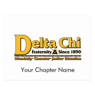 Carte Postale Or de nom et de logo de Chi de delta