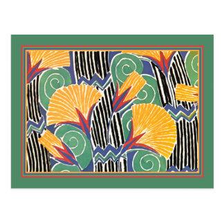 Carte Postale Or et fleurs vertes de paille