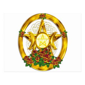 Carte Postale Or païen de pentagramme de Wiccan avec des roses