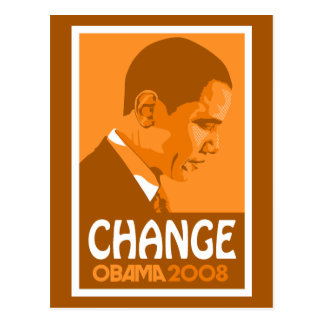 Carte postale orange de changement d'Obama