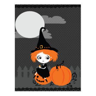 Carte postale orange de citrouille de sorcière