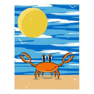 Carte postale orange de crabe de plage