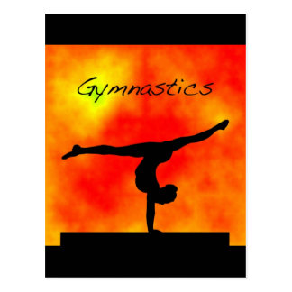 Carte postale orange de gymnastique