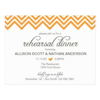 Carte postale orange d'invitation de dîner de