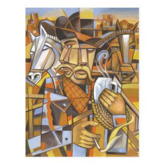 Carte postale originale d'art de cubisme de cowboy