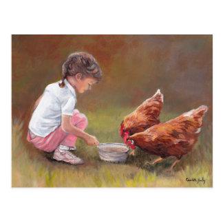 Carte postale originale d'art de dîner de poulet