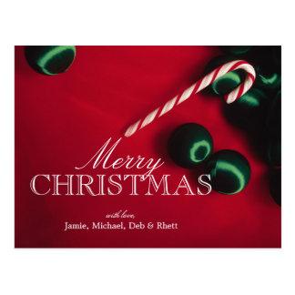 Carte Postale Ornements de sucre de canne et de Noël