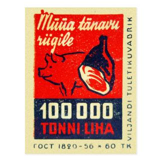 Carte Postale Os vintage de jambon de boîte d'allumettes et porc