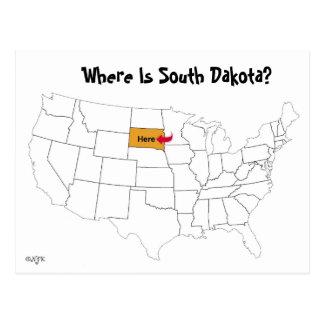 Carte Postale Où est le Dakota du Sud ?