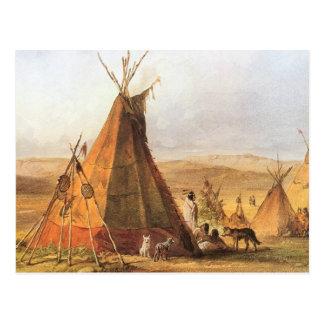 Carte Postale Ouest américain vintage, Teepees sur la plaine par