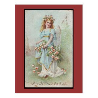 Carte Postale Ouragan Sandy - ange bleu de Noël victorien