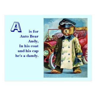 Carte Postale Ours automatique Andy - marquez avec des lettres A