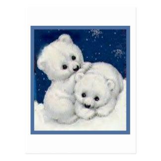 Carte Postale Ours blanc mignon CUB