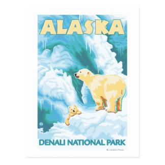 Carte Postale Ours blancs et CUB - parc national de Denali,