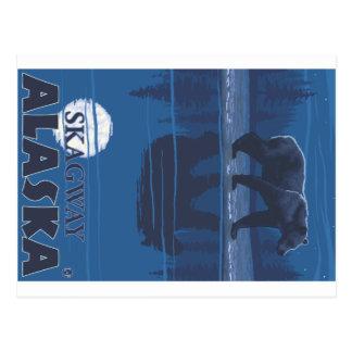 Carte Postale Ours dans le clair de lune - Skagway, Alaska